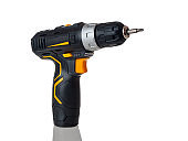 electric cordless screwdriver drill isolated on white background, professional home repair tool, hand power tool, copy space, mock up, design