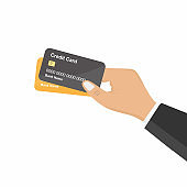 Flat design style human hand holding with credit card. Shopping and pay with cashless. Pay merchant in cartoon character. Business finance concept. Vector design element isolated on white background