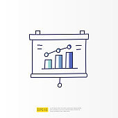 data report and presentation concept doodle gradient fill line icon with graphic chart document. Statistics science, digital marketing and machine learning related for business strategy illustration