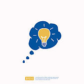 creativity related doodle icon concept with bulb lamp symbol. Creative design, drawing, idea, Inspiration, brainstorming, startup and think vector illustration