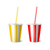 Vector 3d Realistic Paper Disposable Cup Set for Beverage, Drinks Isolated. Yellow,Red, White Stripes. Coffee, Soda, Tea, Cocktail, Milkshake. Design Template of Packaging for Mockup. Front View