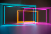 Modern empty abstract background illuminated by pink, blue, orange and green rectangle neon lights / frames in diminishing perspective, 80's retro style