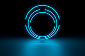 Modern empty abstract interior illuminated by blue neon circle lights, 80's retro style