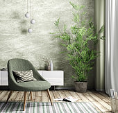 Interior of living room with armchair and plant  3d rendering