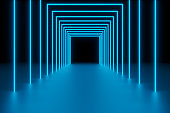 Modern empty abstract background illuminated by blue rectangle neon lights as a tunnel / frames in diminishing perspective, 80's retro style