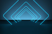 Modern empty abstract background illuminated by blue rectangle curved neon lights / frames in diminishing perspective, 80's retro style