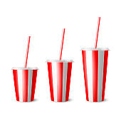 Vector 3d Realistic Red Striped Paper Disposable Cup Set, Lid, Straw. Beverage, Drinks, Coffee, Soda, Tea, Cocktail, Milkshake. Design Template of Packaging for Mockup. Front View, Isolated