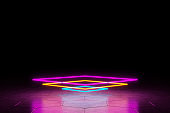 Modern empty abstract background illuminated by multi-colored neon circle lights / ultra sound waves, 80's retro style