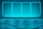 Modern empty abstract background illuminated by blue rectangle neon lights / frames in diminishing perspective, 80's retro style