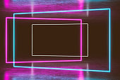 Modern empty abstract interior illuminated by rectangle blue pink neon lights, 80's retro style