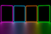 Modern empty abstract background illuminated by pink, blue, orange and green rectangle neon lights / frames, 80's retro style