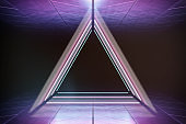 Modern empty abstract interior illuminated by triangle blue pink neon lights, 80's retro style
