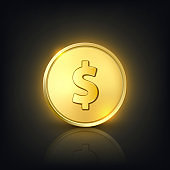 Vector 3d Realistic Golden Dollar Coin. Currency, Money, Wealth, Capital, Banking, E-commerce, Exchange, Finance Concept. Glow Coin Closeup on Dark Background with Reflection. Front View