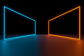 Modern empty abstract interior illuminated by rectangle frame blue and orange neon lights, 80's retro style