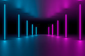 Modern empty abstract interior illuminated by vertical blue and pink neon lights, 80's retro style