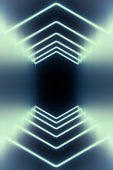 Modern empty abstract background illuminated by white curved neon lights / frames in diminishing perspective, 80's retro style