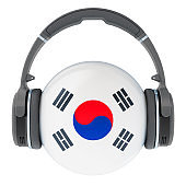 Headphones with South Korean flag, 3D rendering isolated on white background