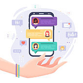 Vector illustration in flat style with hand, mobile phone, messages and icons isolated on white background. Chatting with friends, communication, social network concept for web site, banner design
