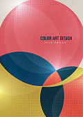 Bright colorful cut parts of a circle, decorative dots. Modern abstract background. Design layout for business presentations, flyers, posters and invitations. Vector