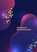 Abstract dynamic composition of overlapping rounded shapes and dots. Fashionable art for cover, poster, web, page, social, media, announcement, greeting card. Vector
