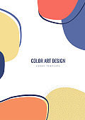 Colorful hand drawn of various shapes and doodle objects. Abstract modern trendy template. Vector