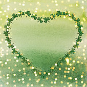Beautiful watercolor drawing of bright, green clover