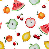 Bright picture of painted fruits. Watercolor paint