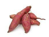 Sweet potatoes isolated on white background