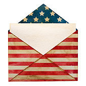 Postal envelope painted in the national colors