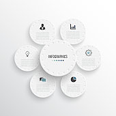 Business infographics with circles template design with icons and 6 options. Template for brochure, business, web design.