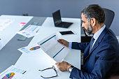 Elegant mature businessman analyzing data in office