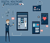 Flat of technology concept,Young man feeling unwell and he call to the doctor for advice via   mobile application - vector