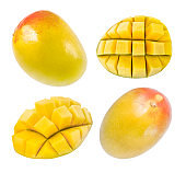 Mango whole and cut cubes, set of part, isolated on white background, element of packaging design. Full depth of field.
