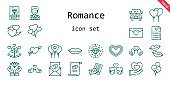 romance icon set. line icon style. romance related icons such as couple, groom, balloon, balloons, kiss, wedding bells, heart, wedding car, cupid, wedding planning, diamond, lips, love birds, marriage, love letter