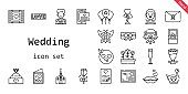 wedding icon set. line icon style. wedding related icons such as love, bride, balloon, groom, engagement ring, garter, swan, church, bouquet, wedding video, kiss, champagne glass, wedding car, in love, tulips