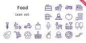 food icon set. line icon style. food related icons such as smoothie, plum, basket, rotisserie, oat, worm, egg, cup cake, truck, setting the table, mall, lemonade, pilgrim, vegetable, packs, popsicle, bucket, ice cream