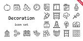 decoration icon set. line icon style. decoration related icons such as cherry, bench, donuts, candy, balloons, tree, peach, drawer, wall clock, cone, flower, theatre, cage, lyre, food and restaurant, tic tac toe, letter