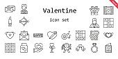 valentine icon set. line icon style. valentine related icons such as love, cupid, groom, romantic music, wedding gift, love birds, engagement ring, tic tac toe, love letter, lipstick, wedding video, heart,