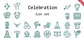 celebration icon set. line icon style. celebration related icons such as gift, cake slice, shower, cherry, confetti, cards, cookie, mummy, cow, lollipop, necklace, cone, cupid, help, watercolor, cake, ballons