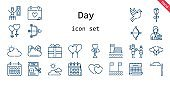 day icon set. line icon style. day related icons such as love, calendar, couple, balloons, father, wedding day, tax, mustache, journalist, cupid, cloud, cloudy, timer, dove, beach, hearts, rose, present,