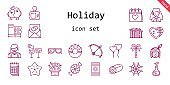 holiday icon set. line icon style. holiday related icons such as gift, native american, calendar, bride, sunglasses, woman, beach towel, candy, cocktails, bow, love potion, spider web, palm tree, roller coaster, love birds