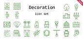 decoration icon set. line icon style. decoration related icons such as calendar, gift, rain, paint brush, seashell, pattern, tree, drawer, bird cage, lollipop, necklace, lamp, vase, oil paint, perfume, branch