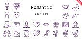 romantic icon set. line icon style. romantic related icons such as bride, love, dress, groom, swan, broken heart, wedding day, wedding video, kiss, heart, cupid, hot air balloon, candle, chocolate box, love letter