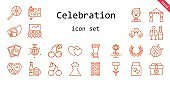 celebration icon set. line icon style. celebration related icons such as laurel, gift, cherry, wedding dress, groom, cards, wedding gift, lollipop, wrapping, mirror ball, flower, ball, wedding arch, love birds, carpet