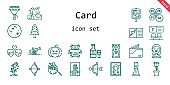 card icon set. line icon style. card related icons such as bride, gift, parking, couple, wallet, pine, mercury, cannon, tree, bouquet, photo camera, petals, picture, cupid, milkshake, bank, rose, atm, wedding invitation