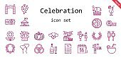 celebration icon set. line icon style. celebration related icons such as gift, laurel, shower, balloons, father, lollipop, necklace, flower, wedding planning, rings, cocktail, earth, boxing, ballons, champagne, circus