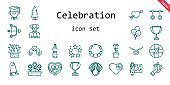 celebration icon set. line icon style. celebration related icons such as gift, flowers, balloons, tree, necklace, best, bottle, wrapping, heart, cupid, help, ghost, rings, love birds, turkey, graduate, chocolate box