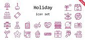 holiday icon set. line icon style. holiday related icons such as calendar, gift, love, potion, beach towel, caramelized apple, wedding bells, motel, sea, ball, palm tree, romantic music, cocktail, cake, love letter