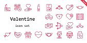 valentine icon set. line icon style. valentine related icons such as cupid, love, wedding car, groom, couple, love birds, wedding gift, love letter, wedding video, lipstick, petals, heart,