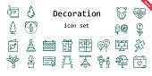 decoration icon set. line icon style. decoration related icons such as gift, calendar, stool, birdhouse, balloon, candy, father, clover, wedding day, tree, lamp, palm tree, pear, party hat, camel, plant, rose